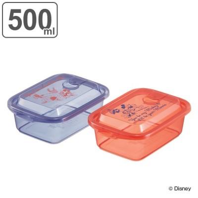 保存容器 500ml ミッキーマウス エアー弁付き ふわっと盛り 電子レンジ対応 ( フードストッカー フードコンテナ プラスチック レンジ 2個入り )