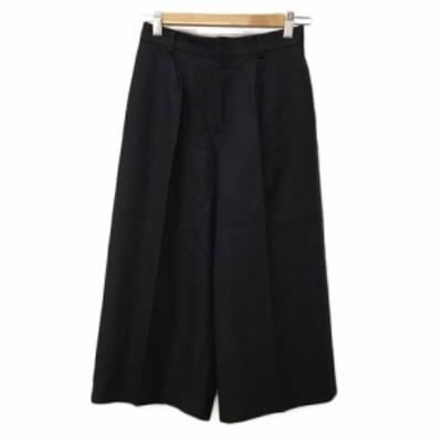 【中古】ノーリーズ Nolley's パンツ ワイド クロップド ウール 無地 34 黒 ブラック レディース