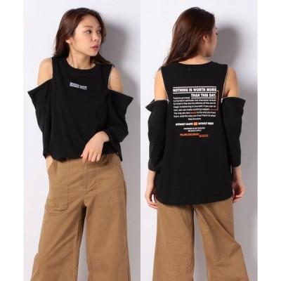 【ウィゴー】WEGO/バックロゴショルダージップTシャツ