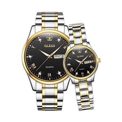 ペア 腕時計 ペアウォッチ カップル 人気 メンズ レディース ペア OLEVSゴールドシルバーストラップ*ブラック ダ
