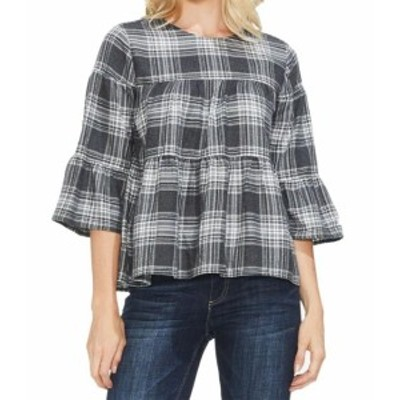 Vince ヴィンス ファッション トップス Vince Camuto NEW Dove Gray Womens Size XL Plaid Bell-Sleeve Knit Top