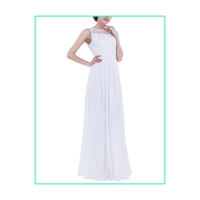 ACSUSS Women's Crochet Lace Chiffon Wedding Bridesmaid Evening Gown Prom Maxi Dress White 10並行輸入品