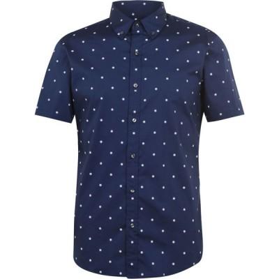 マイケル コース Michael Kors メンズ シャツ スリム トップス Slim Box Print Shirt DarkDenim