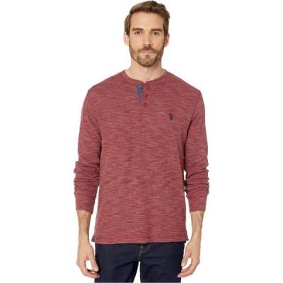 ユーエスポロアッスン U.S. POLO ASSN. メンズ Tシャツ ヘンリーシャツ トップス Space Dye Thermal Henley University Red