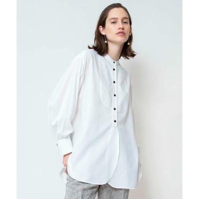 シャツ ブラウス 強撚ボイルビブ付きシャツ