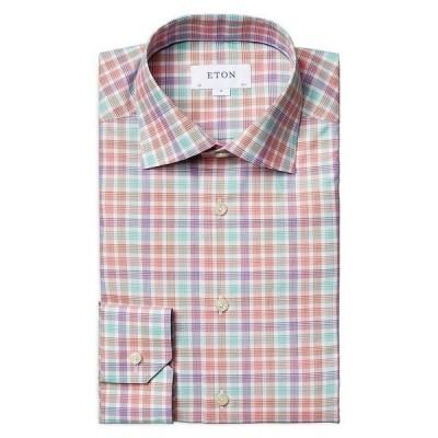 エトン メンズ シャツ トップス Cotton Plaid Convertible Cuff Contemporary Fit Dress Shirt