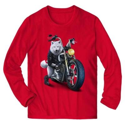 【オオカミ 狼 夜 バイク バイカー】メンズ 長袖 Tシャツ by Fox Republic