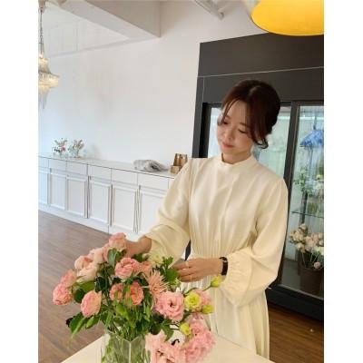 大好評低価格セール2021 韓国ファッション ウエスト ワンピース レディース 気質 長袖  エレガント ワンピース
