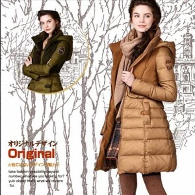 オリジナルデザイン 上質ダウン90% 異素材MIX レディース ダウンコート(取り外し可能フード付き/着痩せ/Aライン/暖かい/ミディアム丈)