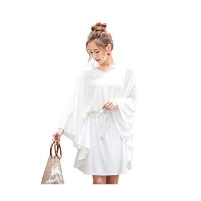 [神戸レタス] レディース ドルマン チュニック プルオーバーラッシュガード [S184] ワンサイズ(M) オフホワイト