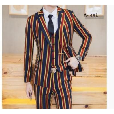 ストライプ柄 メンズ3点セットスーツ スタイリッシュ ビジネススーツ セットアッフスーツ 二次会 披露宴 通勤 結婚式 通勤