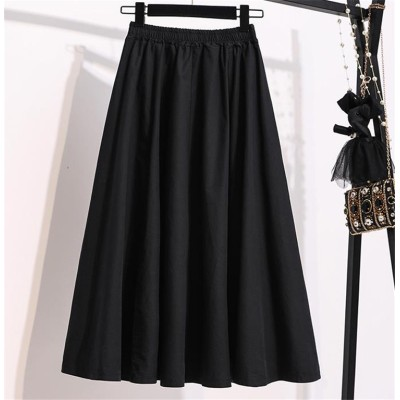 💛店長推薦💛韓国ファッション 夏 ハイウエスト スカート Aライン ロングスカート 傘スカート 大きいサイズ ゆったりする 怠惰な風 百掛け シンプル
