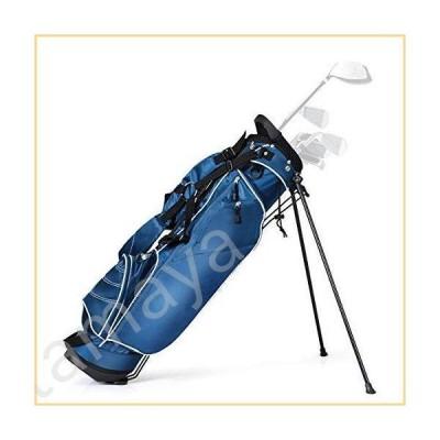 GYMAX スタンドバッグ 軽量ゴルフキャリーバッグ 4ポケットと3ウェイ仕切り