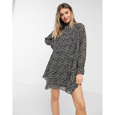 QEDロンドン レディース ワンピース トップス QED London smock dress with ruffle neck in whimsy floral Black