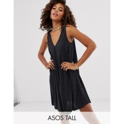 エイソス レディース ワンピース トップス ASOS DESIGN Tall exclusive sleeveless plisse mini v-neck swing dress in mono spot Mono s