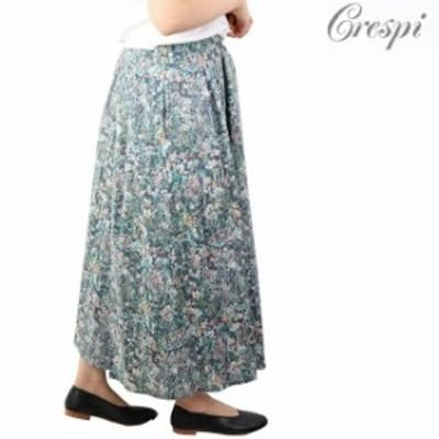 クレスピ Crespi リバティ LIBERTY プリーツ ロング  スカート 日本製 38 花柄 シフォン ターコイズ ミモレ フレアスカート タナローン