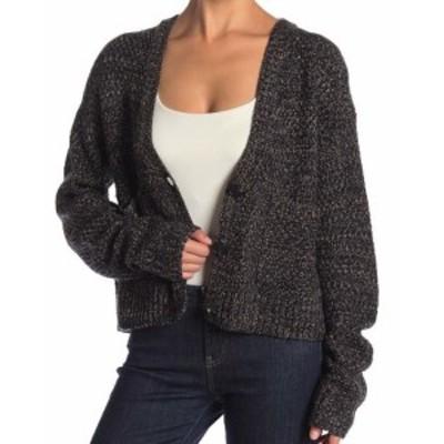 Marled  ファッション トップス John + Jenn Womens Marled Knit Shale Black Large L Cardigan Sweater
