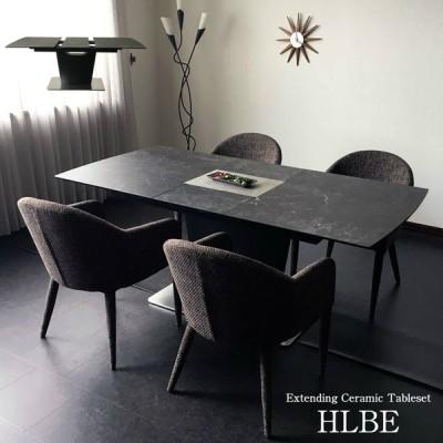 [開梱設置無料] セラミック 高級ダイニングテーブル 5点セット ファブリックチェア 伸長式 エクステンション ブラック 大理石風 140cm幅 180cm幅 HLBE
