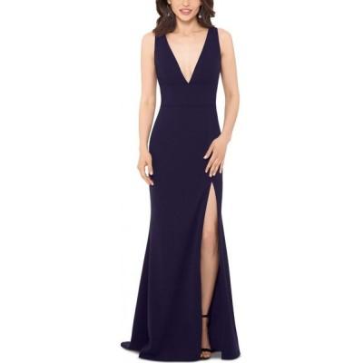 ベッツィアンドアダム Betsy & Adam レディース パーティードレス Vネック ワンピース・ドレス Deep V-Neck Gown Night Blue