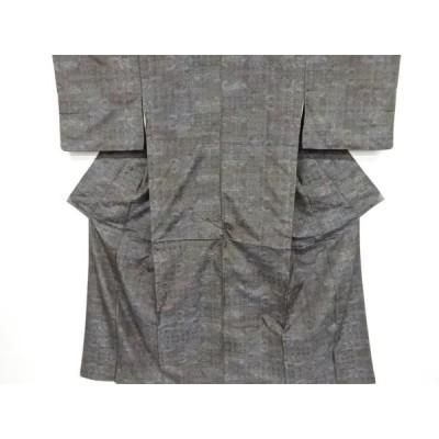 宗sou 幾何学模様織出本場泥大島紬着物【リサイクル】【着】