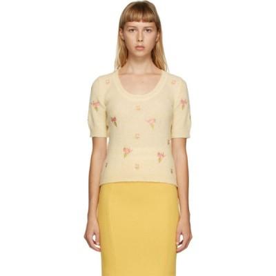 モスキーノ Moschino レディース ニット・セーター トップス Yellow Floral Embroidered Sweater Light yellow