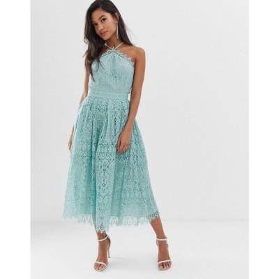 エイソス ASOS DESIGN レディース ワンピース ワンピース・ドレス lace midi dress with pinny bodice Pale blue