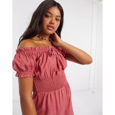 インフルエンス レディース ワンピース トップス Influence off shoulder milkmaid romper in pink Pink