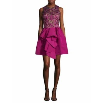 マルケサクチュール レディース ワンピース Silk Floral Embroidered Flared Dress