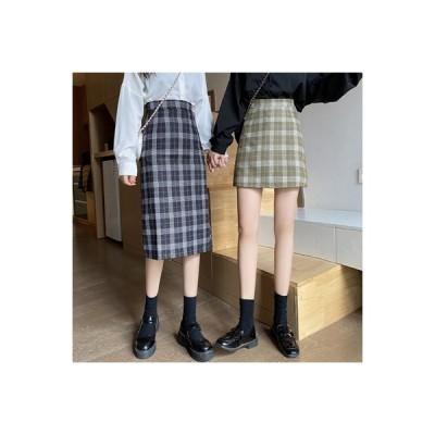 【送料無料】秋服 年 女 韓国風 グリッド 言葉 スカート 何でも似合う アンティー | 364331_A63619-3729894