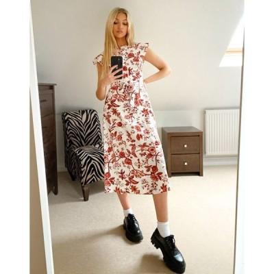 オアシス レディース ワンピース トップス Oasis floral ruffle sleeve midi dress in multi Multi