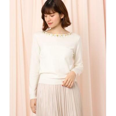 Couture Brooch/クチュールブローチ 【WEB限定サイズ(LL)あり】パンジー刺繍プルオーバー ホワイト(003) 38(M)
