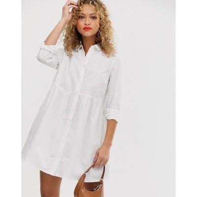 エイソス レディース ワンピース トップス ASOS DESIGN organic cotton mini smock shirt dress in white