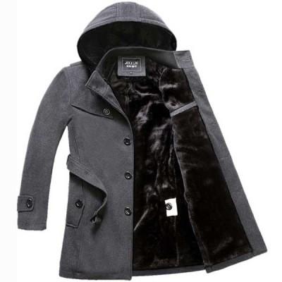 メンズトレンチコート コットン 厚手裏起毛 ツイード素材 韓国ファッション 通勤 大きいサイズコート オフィス フォーマル2色 ジャケット