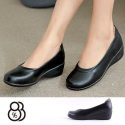 【88%】包鞋-MIT台灣製 跟高4.5CM 純色素面 圓頭包鞋 OL通勤鞋 坡跟鞋