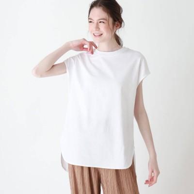 シューラルー SHOO-LA-RUE USAコットンラウンドヘムTシャツ (オフホワイト)