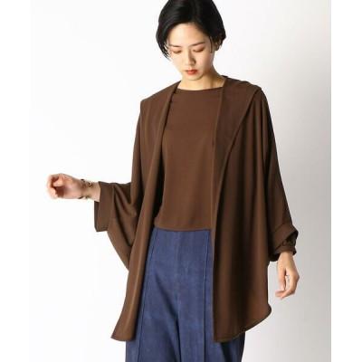 COMME CA/コムサ ドルマンスリーブ フード付 羽織り ブラウン 11号