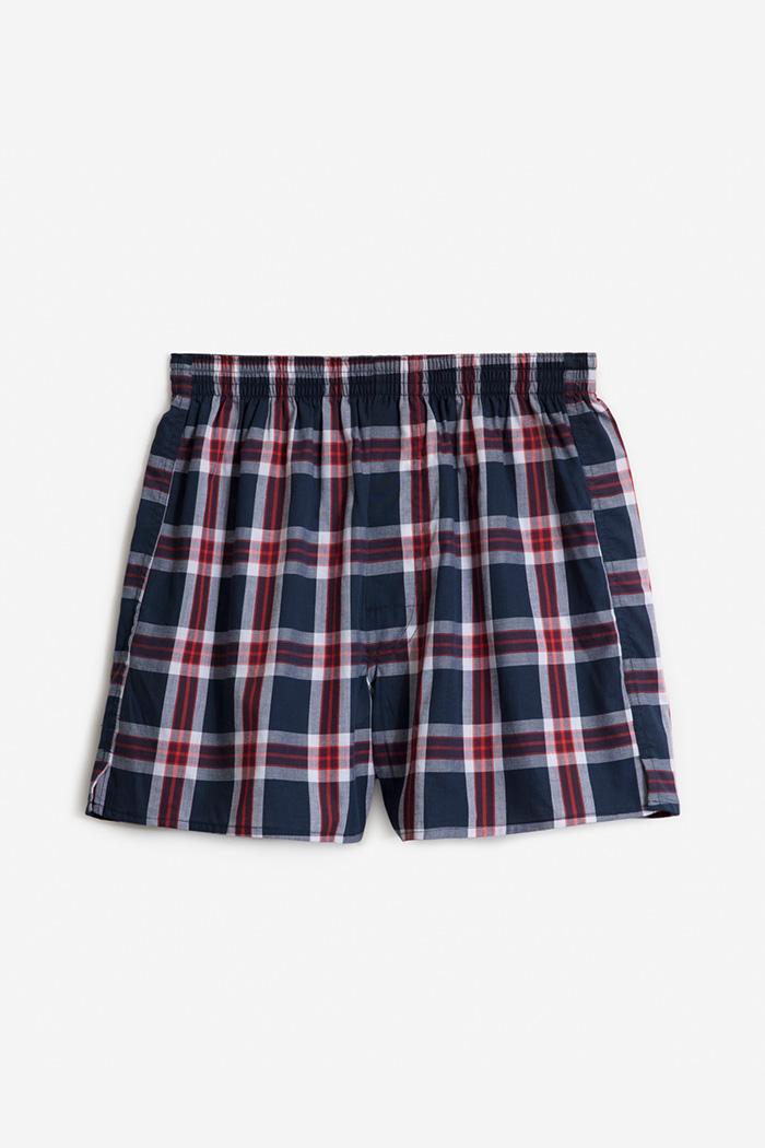 (男款)格紋控.平織舒適四角內褲(白/紅/深藍格)