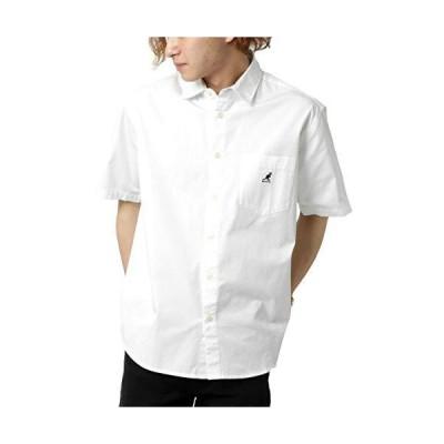 カンゴール シャツ メンズ ワンポイント ロゴ 刺繍 半袖 レギュラーシャツ 無地 ホワイト L