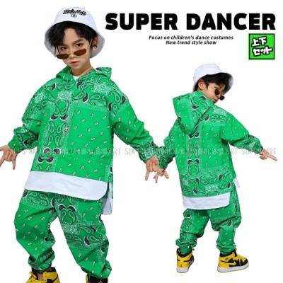 キッズダンス衣装 ヒップホップ セットアップ ダンスファッション トップス パンツ ペイズリー柄 緑