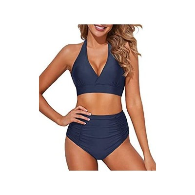 Tempt Me Women Navy Blue High Waisted Bikini Halter V Neck Two Piece Push U