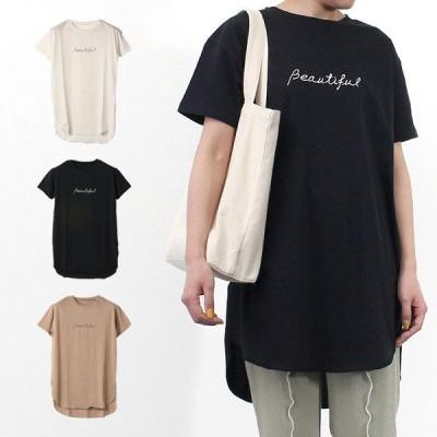 Tシャツ カットソー レディース ロゴ 半袖 天竺 おしゃれ プリント ロング丈 綿100% コットン トップス