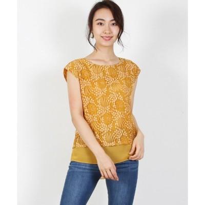 tシャツ Tシャツ 配色レースシフォン重ねリバーシブルプルオーバー