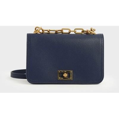 チェーンハンドル クロスボディバッグ / Chain Handle Crossbody Bag (Dark Blue)