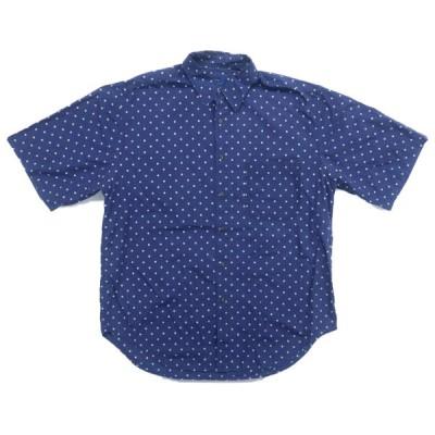 Cambridge Classics デザイン ドット コットン 半袖シャツ ネイビー サイズ表記:L