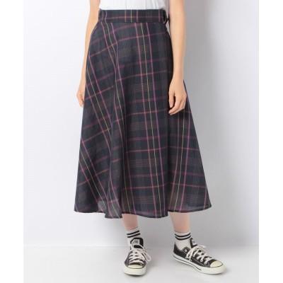 (MELROSE Claire/メルローズクレール)【セットアップ対応商品】オリジナルチェック柄スカート/レディース ネイビー