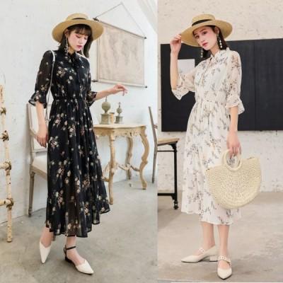 春夏 ドレス ロングドレス ワンピース 花柄 マキシ丈 長袖 透け感 カジュアル フェミニン お呼ばれ パーティ