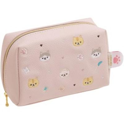 サンエックス ころころコロニャ ポーチ CU48001 / ピンク 刺繍 猫 ねこ ネコ コロニャ ぱりぴちゃん  小物入れ 化粧ポーチ