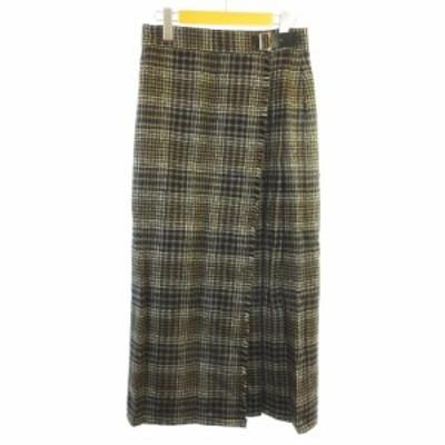 【中古】アダムエロペ Adam et Rope' Lovat for 美品 ウール グレンチェック ロングラップスカート マルチカラー 38