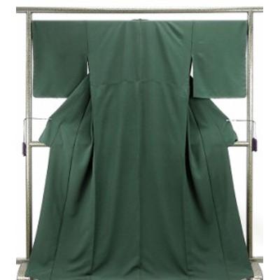 単衣  色無地 新品仕立済 正絹 単衣 ビリヤードグリーン色 色無地 小難あり 新品  仕立て上がり  着物