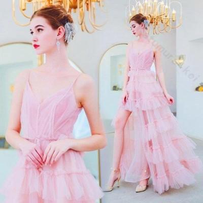 レディース ドレス 結婚式 パーティー 演奏会 ピンク スレンダーライン Vネックライン ハートカット 透け感 ロングドレス 二次会 大きいサイズ